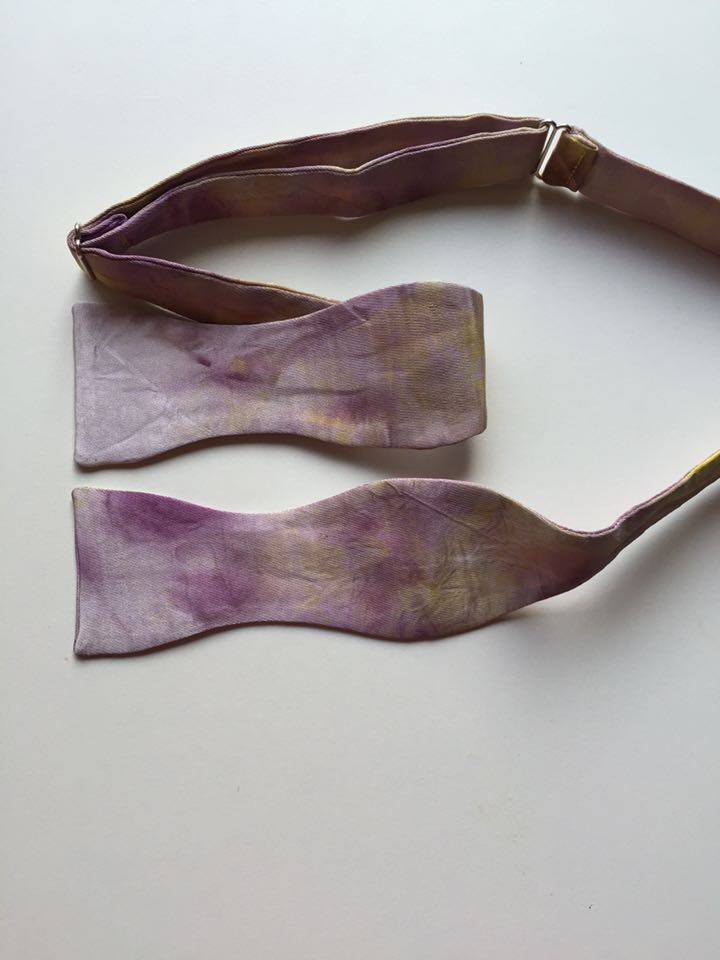 Image of Men's Silk Self Tie Bow Tie / Purple & Yellow