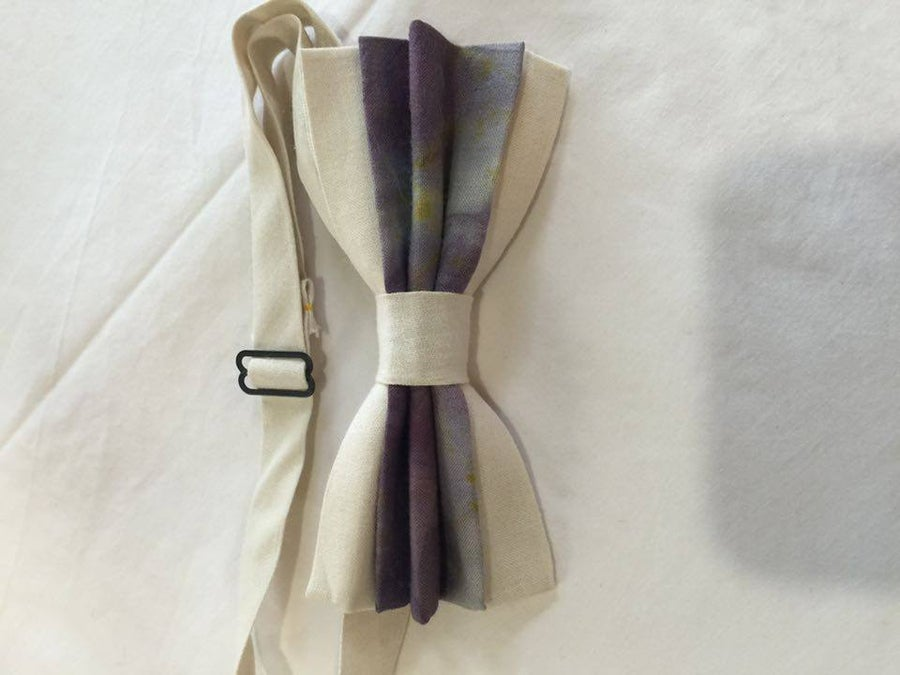 Image of Men's Silk Bow Tie / Purple Accent