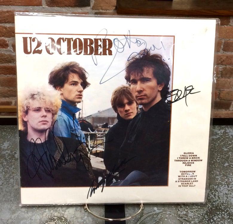 Image of U2 OCTOBER • 1981 Autographed LP Album