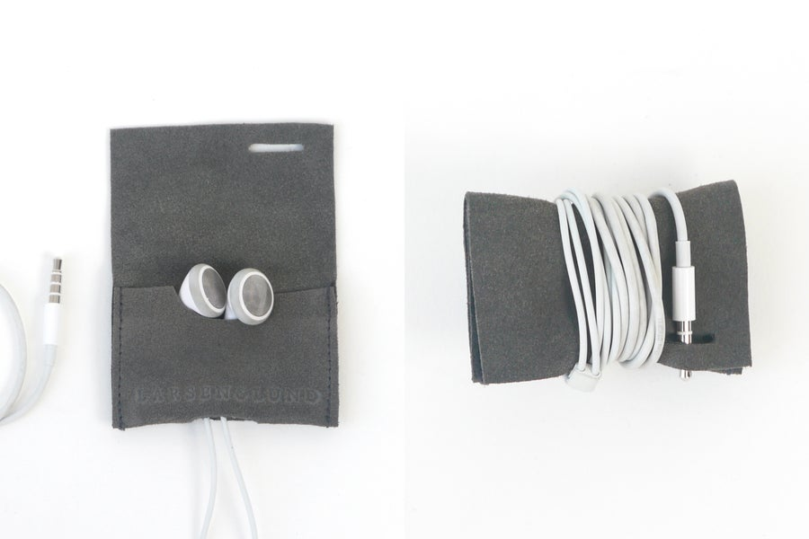 Image of Earbud Case - Charcoal Suede