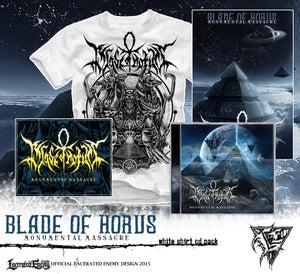 Image of BLADE OF HORUS - Monumental Massacre Shirt bundle - WHITE TS