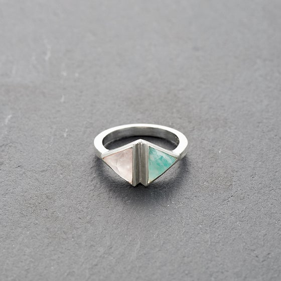 Image of Double Kandy Amazonite Ring Silver