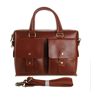 "Image of Handmade Leather Briefcase / Messenger / 13"" 15"" MacBook 13"" 14"" Laptop Bag (n43)"