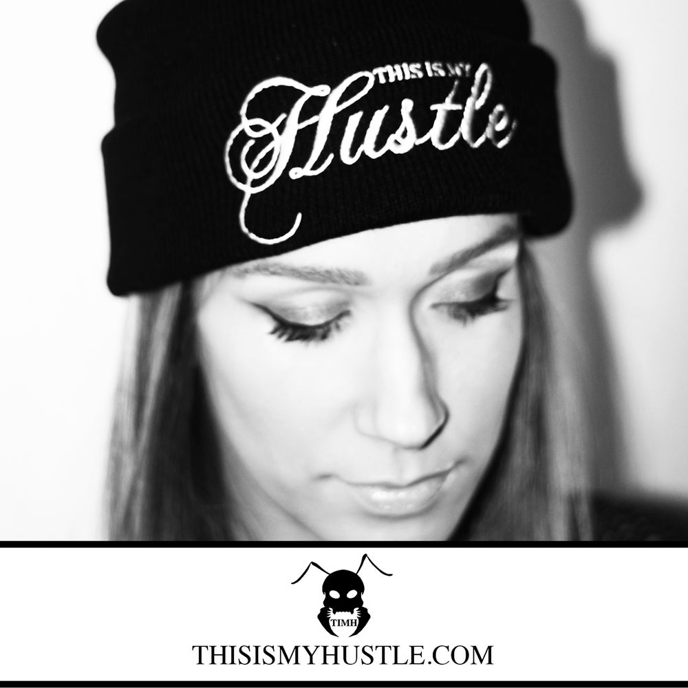 Image of This Is My Hustle Classic Logo Beanie (Black/White)