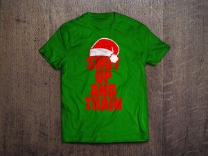 Image of Mens Christmas Shut Up & Train Green/Red Tshirt