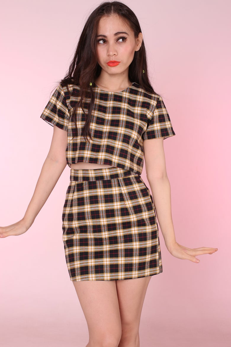 Image of Black & Yellow Tartan Motel 2 piece Set