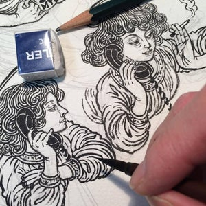 Image of online ink drawing class + 3 months of SKILLSHARE membership for just $0.99USD