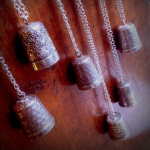 Image of Solid Silver Antique Thimble and Long Chain