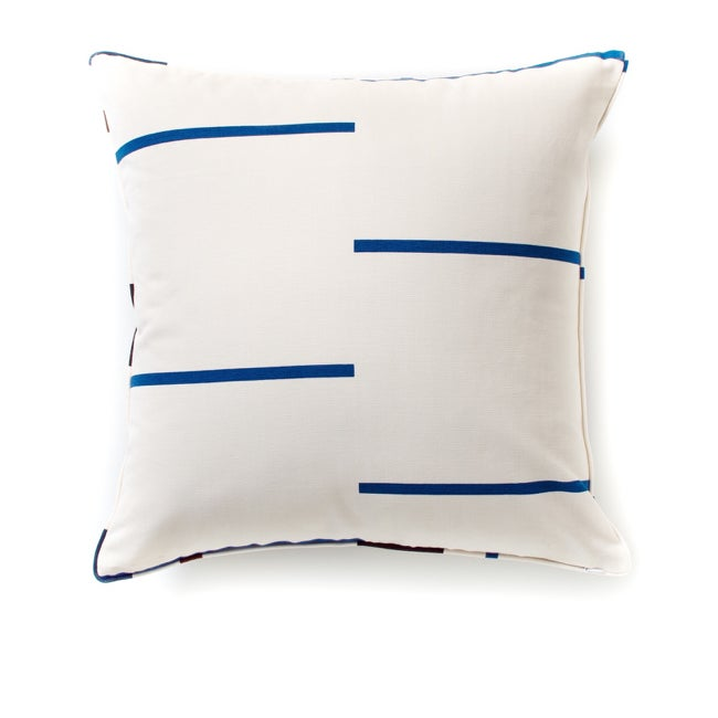 Image of BAUHAUS STRIPE CUSHION COVER BLUE/BROWN