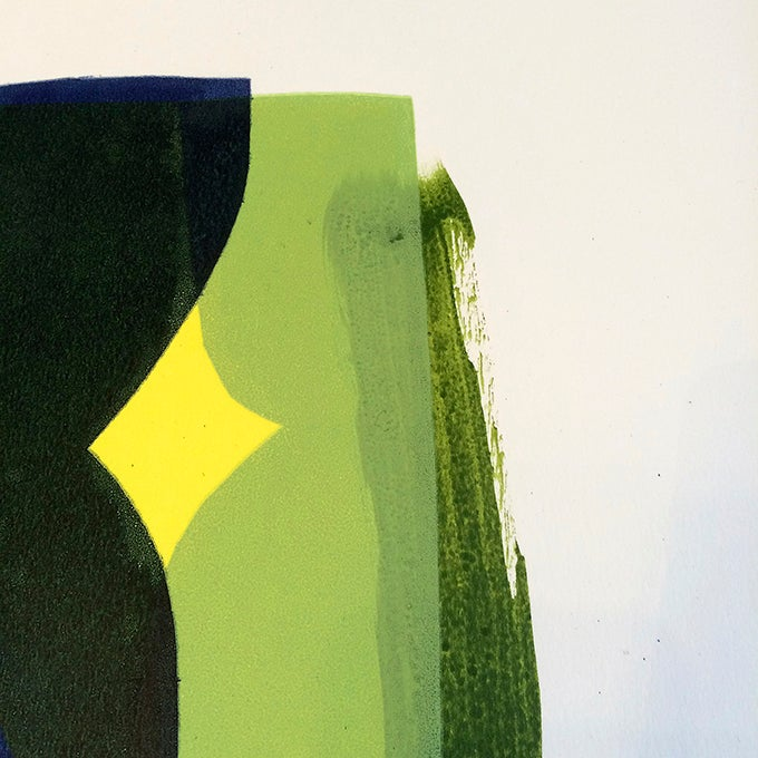 Image of Green Shelf, Limited Edition Mixed Media + Screen Print