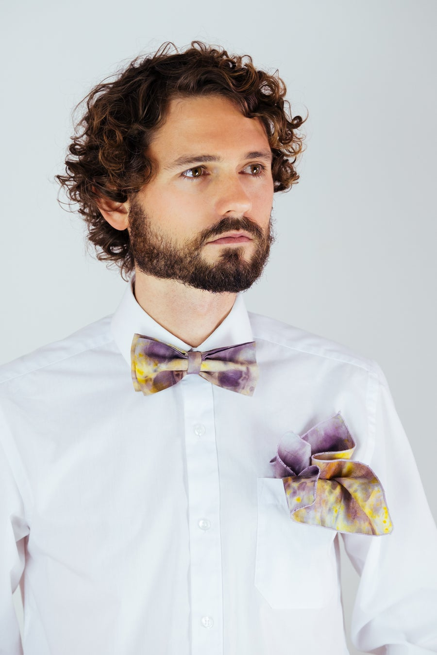 Image of Men's Silk Bow Tie / Purple & Yellow
