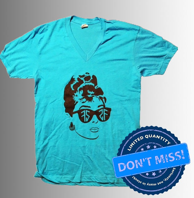 Image of (Limited Edition) Audrey V-Neck Shirt - Neon Blue (FREE TOTE BAG)