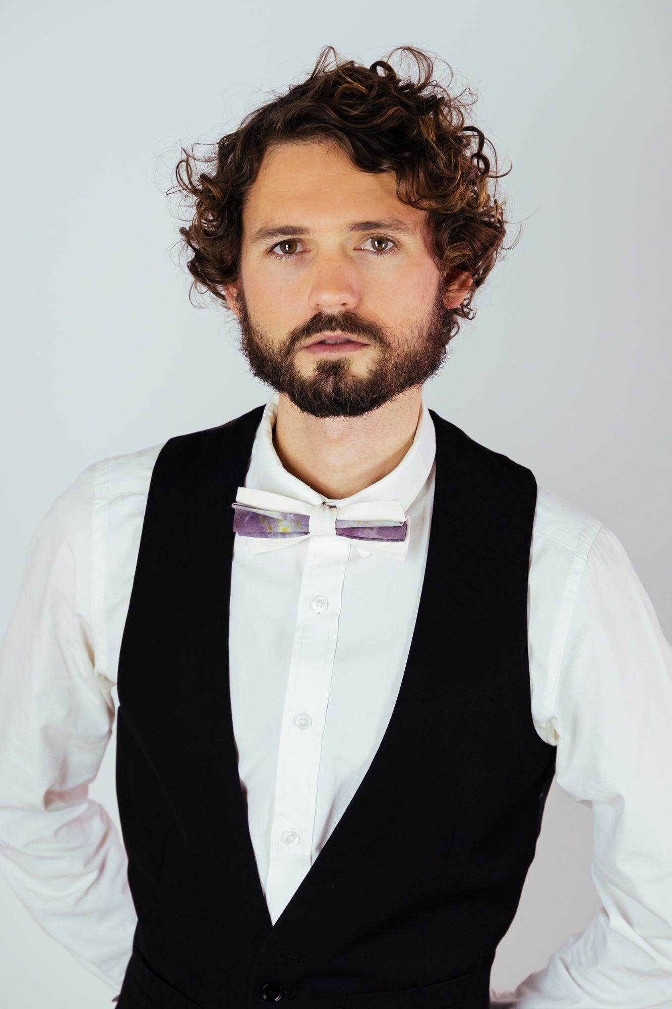 Image of Men's Silk Bow Tie / Artistic Purple Accent
