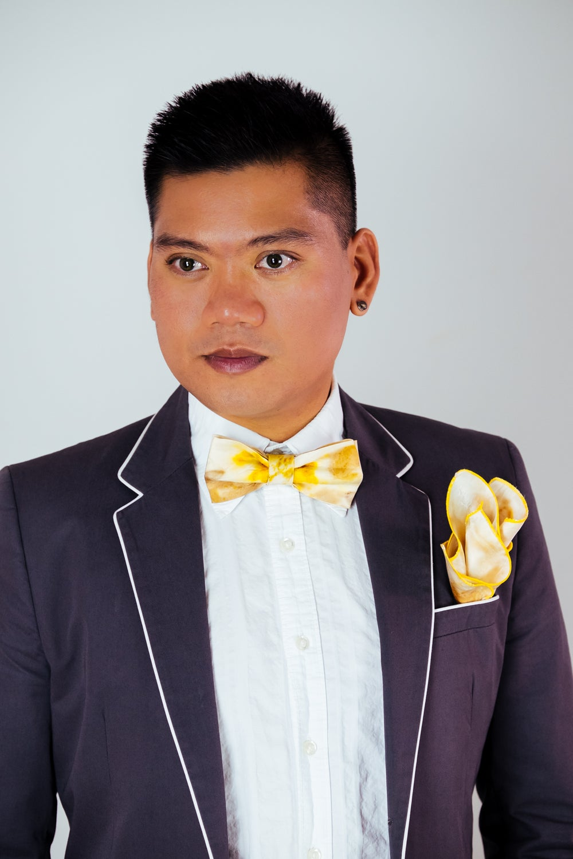 Image of Men's Silk Bow Tie / Eucalyptus and Turmeric