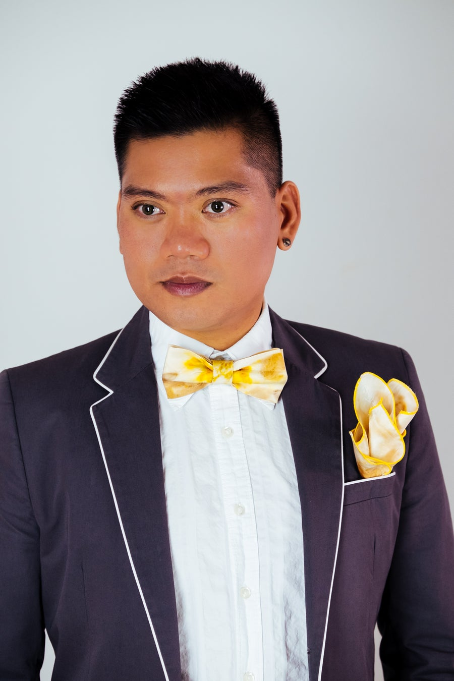 Image of Men's Silk Bow Tie / Eucalyptus and Turmeric