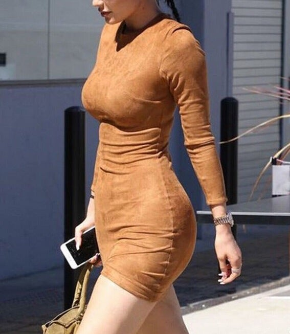 Image of HOT BROWN SEXY ASYMMETRY LONG SLEEVE DRESS HIGH QUALITY