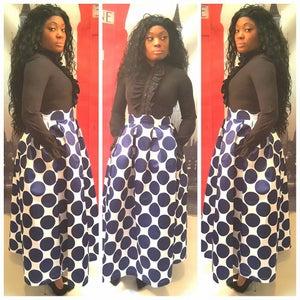 Image of Long Blue Polka Dot Skirt