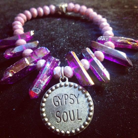 Image of Gypsy Soul Purple Aura Quartz and Raw Pyrite