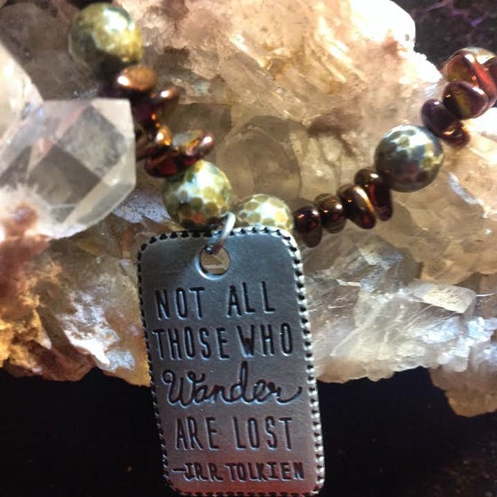 Image of  Not all Who Wander ~Rainbow Aura Pyrite and Snake Skin Agate