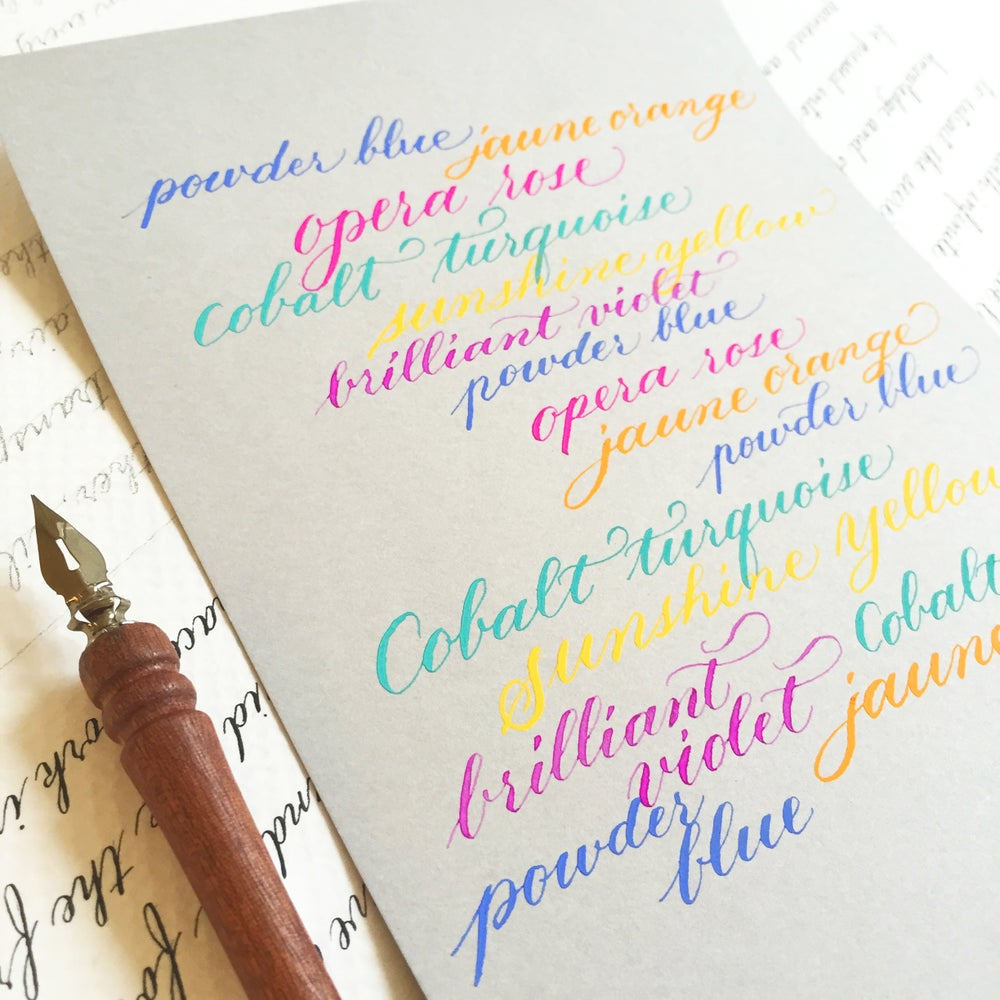 Image of Colour Ink Calligraphy - BEGINNER - dip pen