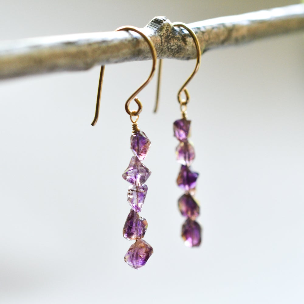 Image of Amethyst nugget earrings 14kt gold-filled