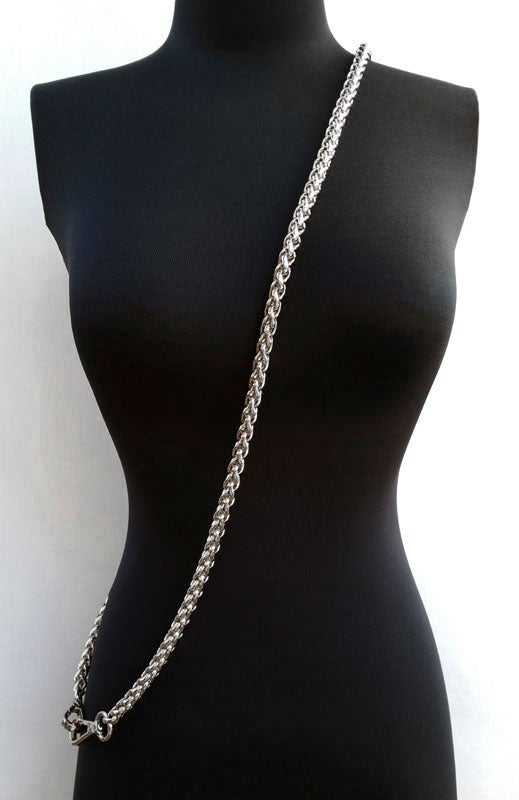 "Image of NICKEL Chain Luxury Strap - Large Braided Chain - 3/8"" (10mm) Wide - Choose Length & Hooks/Clasps"