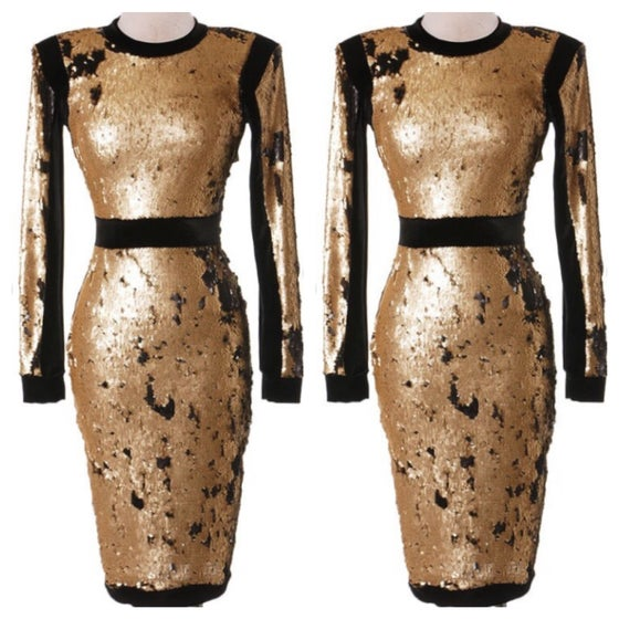 Image of Metallic Gold Sequin Front Dress