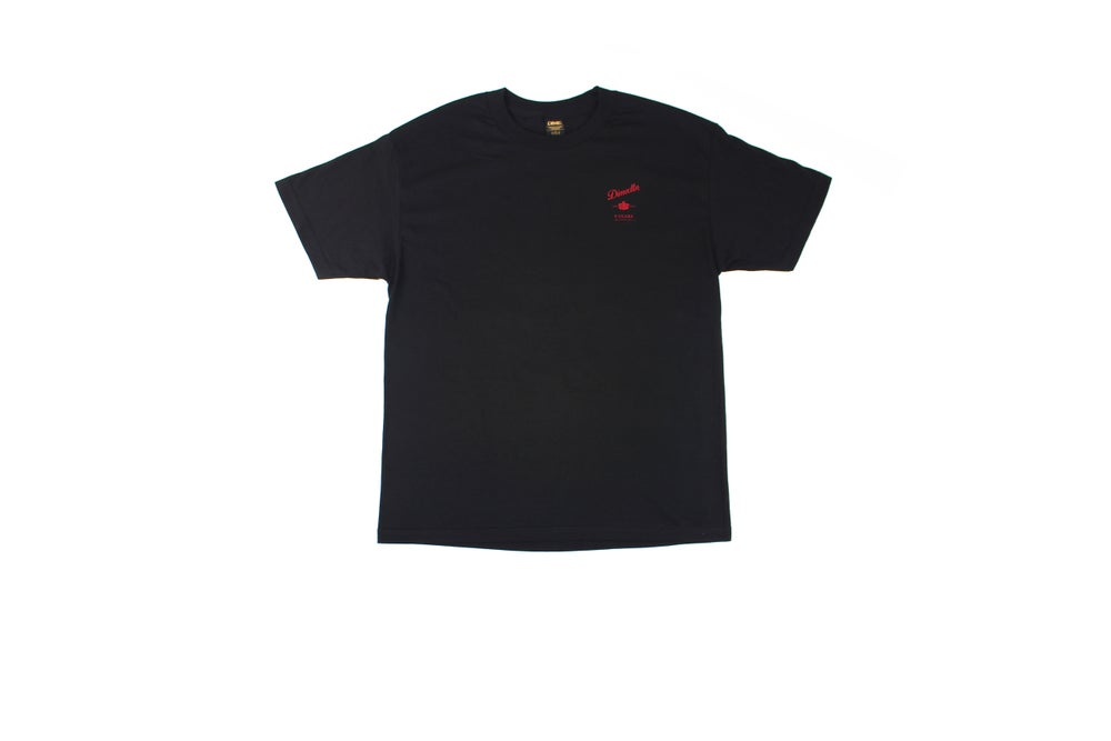Image of PENFOLDS | BLACK T-SHIRT | FRONT & BACK SCREEN-PRINT.