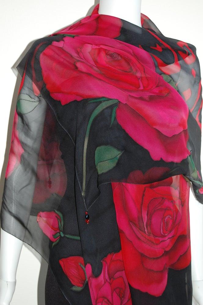 Image of Janan Silk Shawl - Handpainted Silk Shawl Made in USA