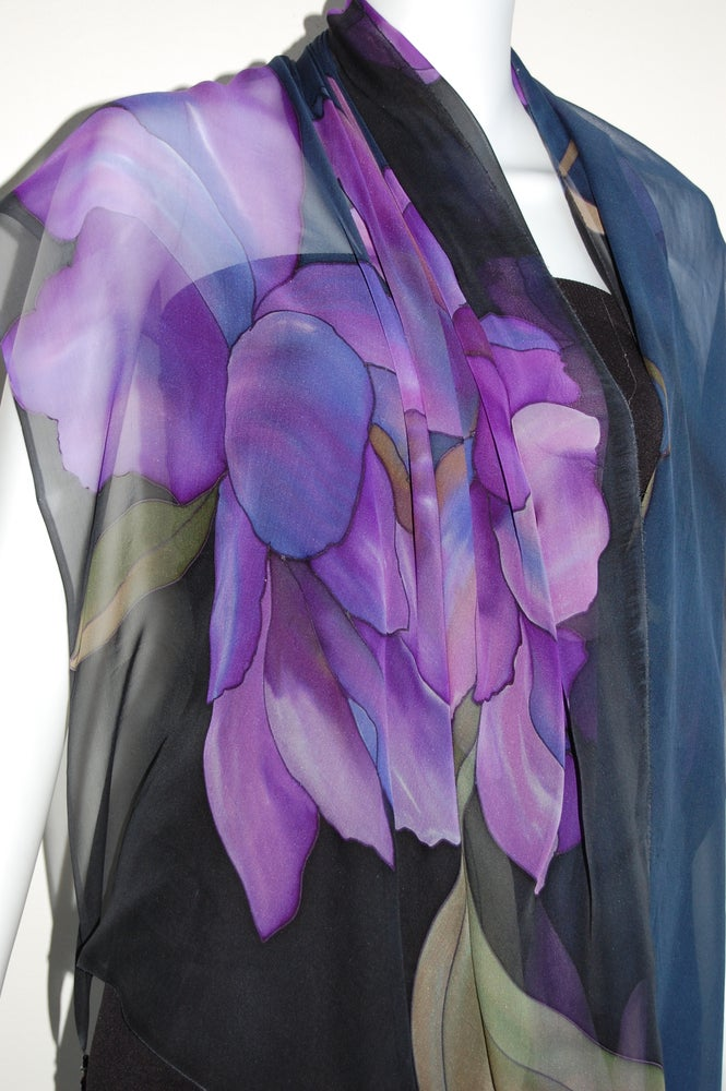 Image of Purples and Violet Silk Shawl - Handpainted Silk Shawl Made in USA