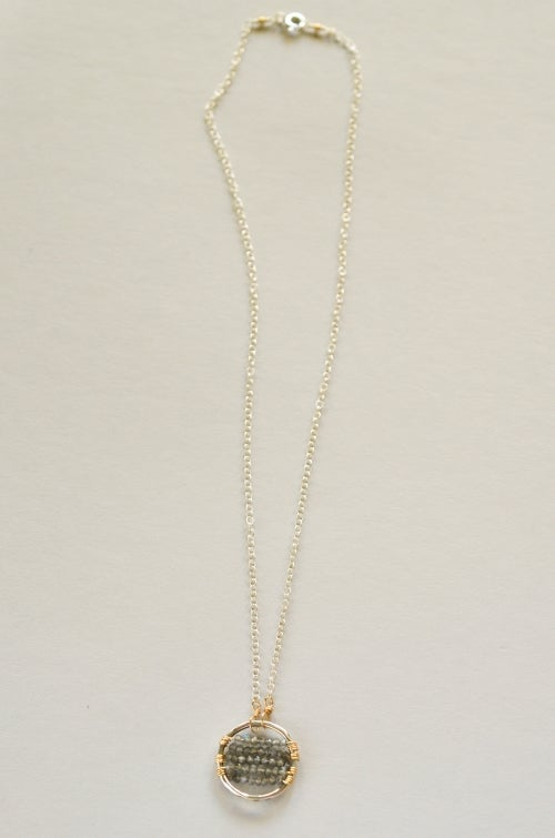 Image of Labradorite circle necklace mixed metal sterling silver