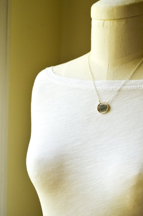 Image of Labradorite circle necklace mixed metal sterling silver