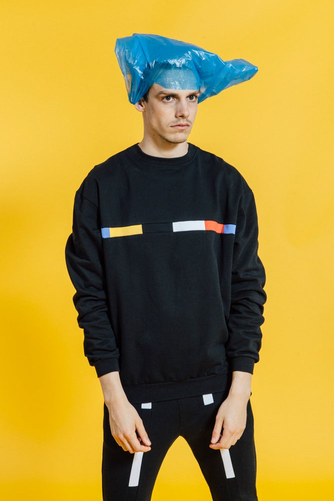 Image of Sweater Black With Multicolored Stripe