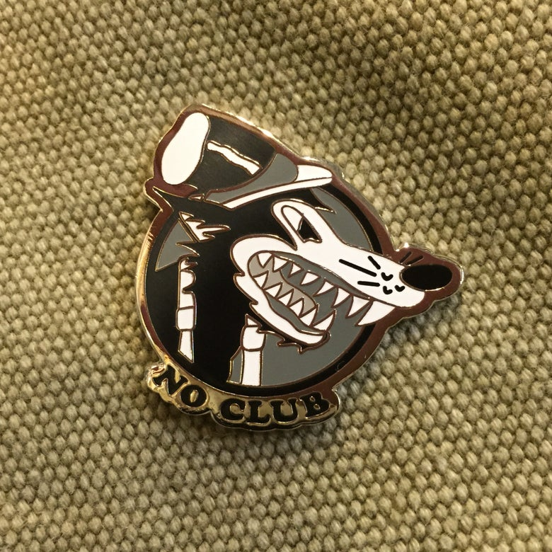 "Image of ""NO CLUB"" lone wolf pin"