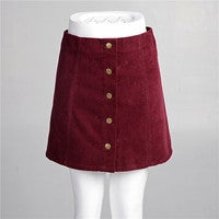 Image of In the fall of the new front buckle A word skirt cultivate one's morality corduroy skirts