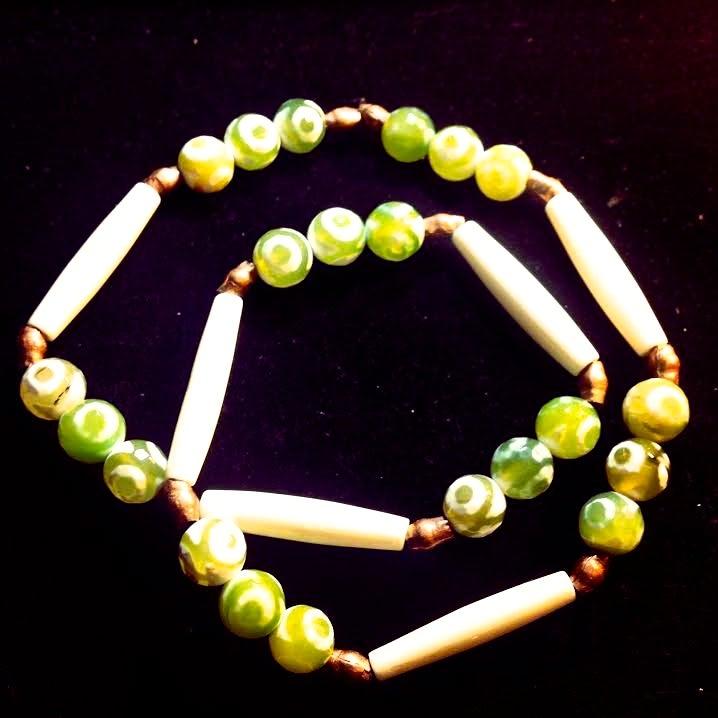 Image of The Heart of A Warrior ~Tribal Bone and Tribal Agate with Brass Uganda Beads