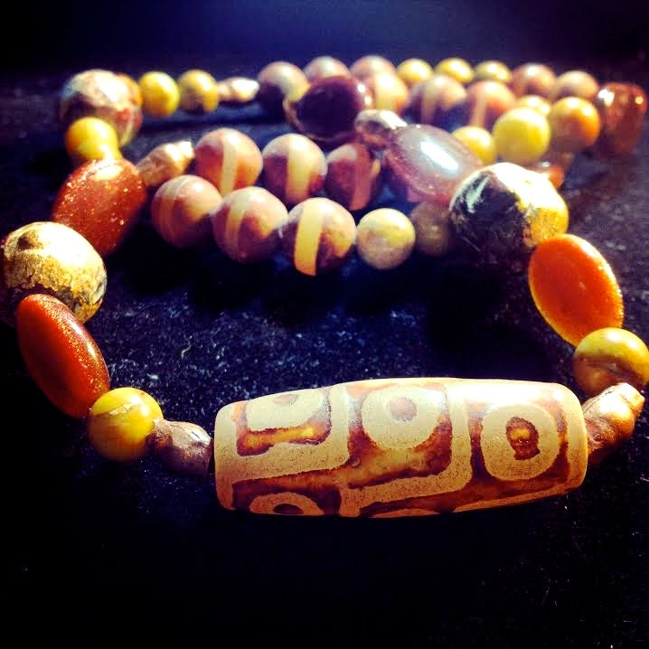 Image of Awaken your Power ~Tribal Agate with Larderite/Shoushan Stone, Goldstone and Mala Beads from India