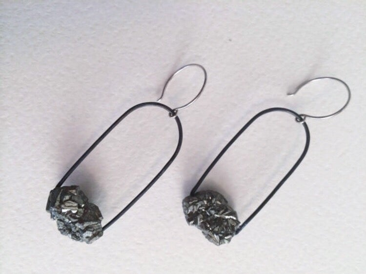 Image of Fool's gold earrings, pyrite earrings IN STOCK