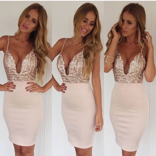 Image of hot straps shining sequins dress