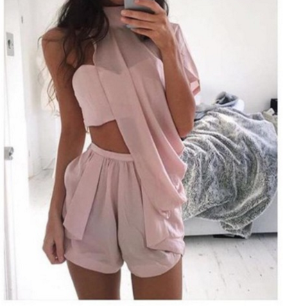 Image of FASHION CUTE OFF SHOULDER TWO PIECE SUIT