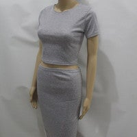 Image of HOT TWO PIECE SHORT SLEEVE PURE COLOR DRESS