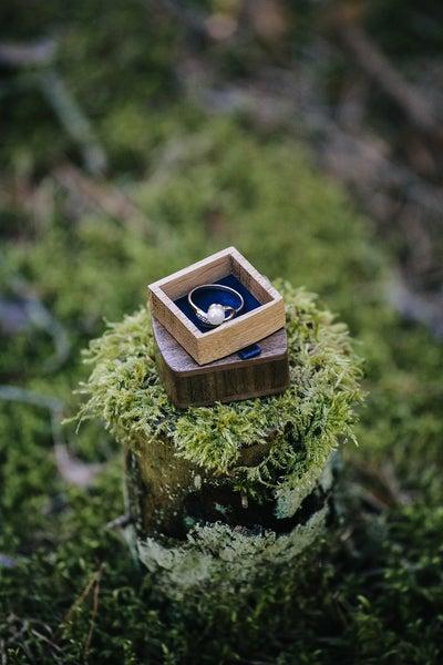 Image of Slim proposal box - unique ring box - engagement ring box - wood ring box - royal blue lining
