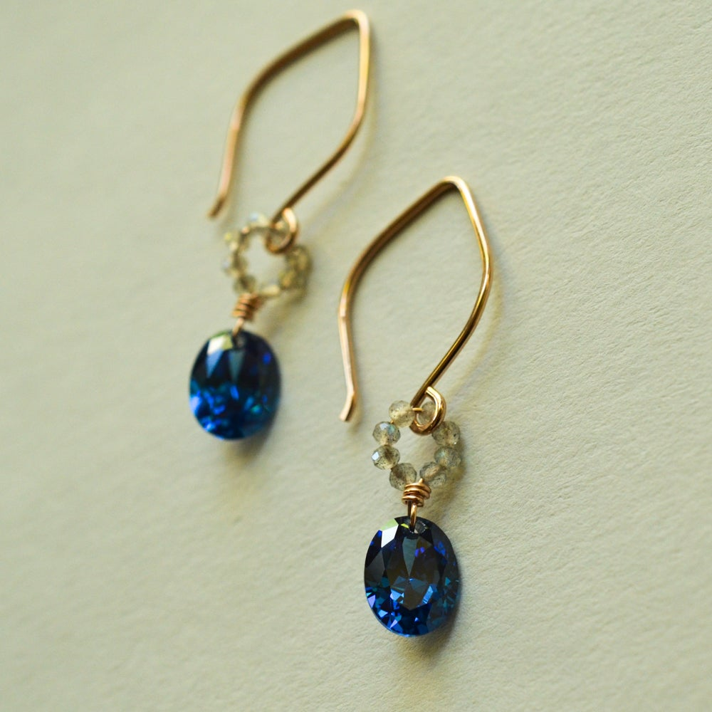 Image of Blue oval cubic zironia earrings 14kt rose gold-filled