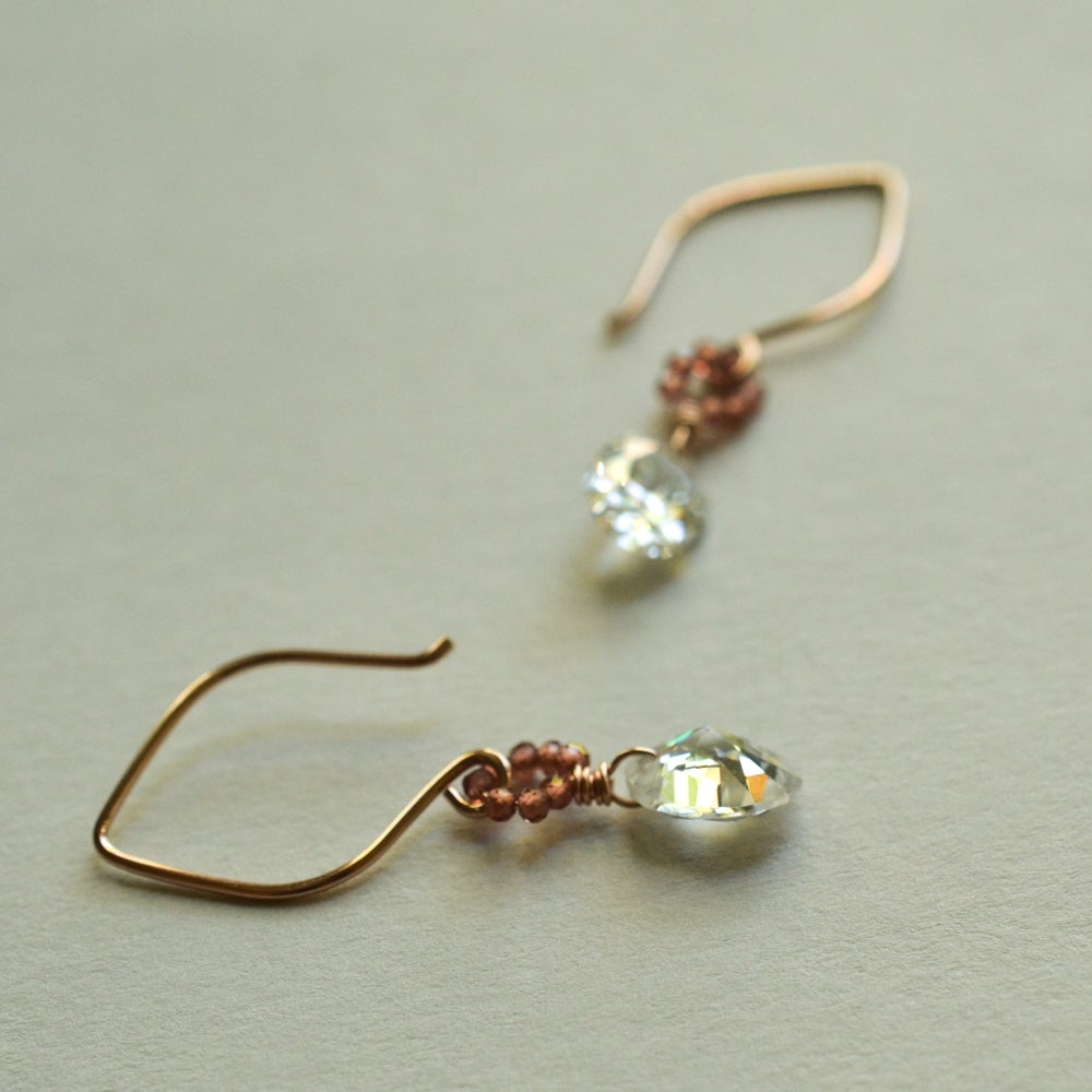 Image of Clear oval cubic zirconia earrings 14kt rose gold-filled