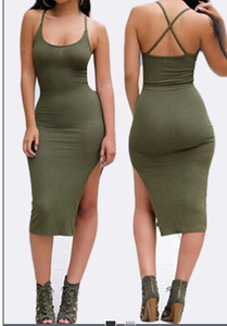 Image of FASHION GREEN CROSS DRESS