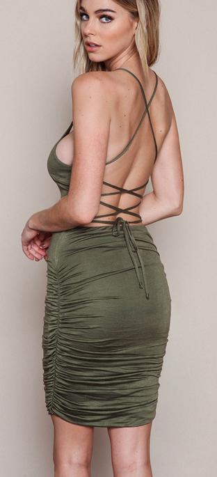 Image of FASHION BACKLESS TWIST DRESS