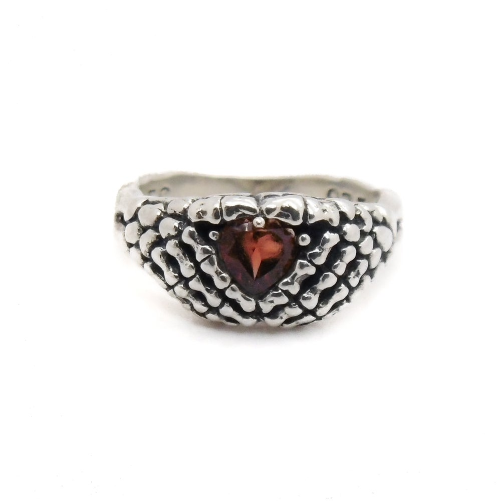 Image of Sterling Silver & Garnet Lovely Bones Ring