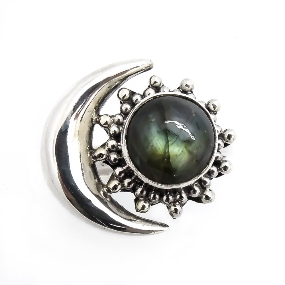 Image of Sterling Silver Labradorite Sun & Moon Ring