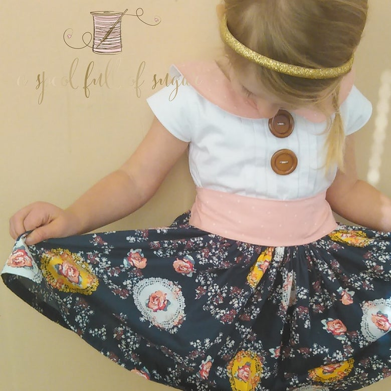 Image of Ella Floral Dress with Pleats and Peter Pan Collar