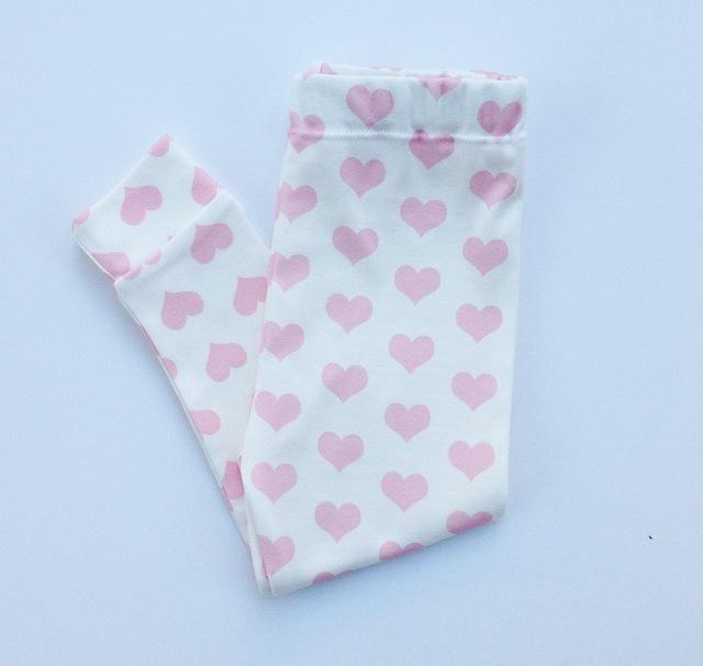 Image of ORGANIC COTTON Petal Pink Signature HEART CUFFED LEGGINGS